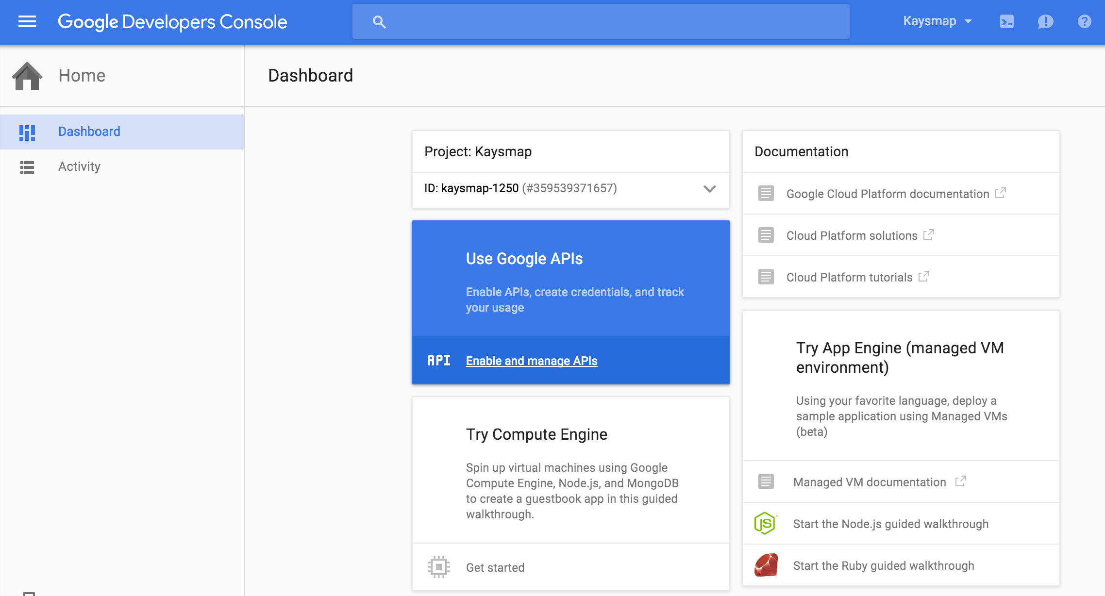 Click on Use Google APIs panel
