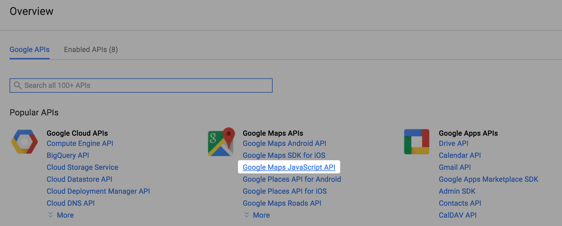 Click on Google Maps Javascript API