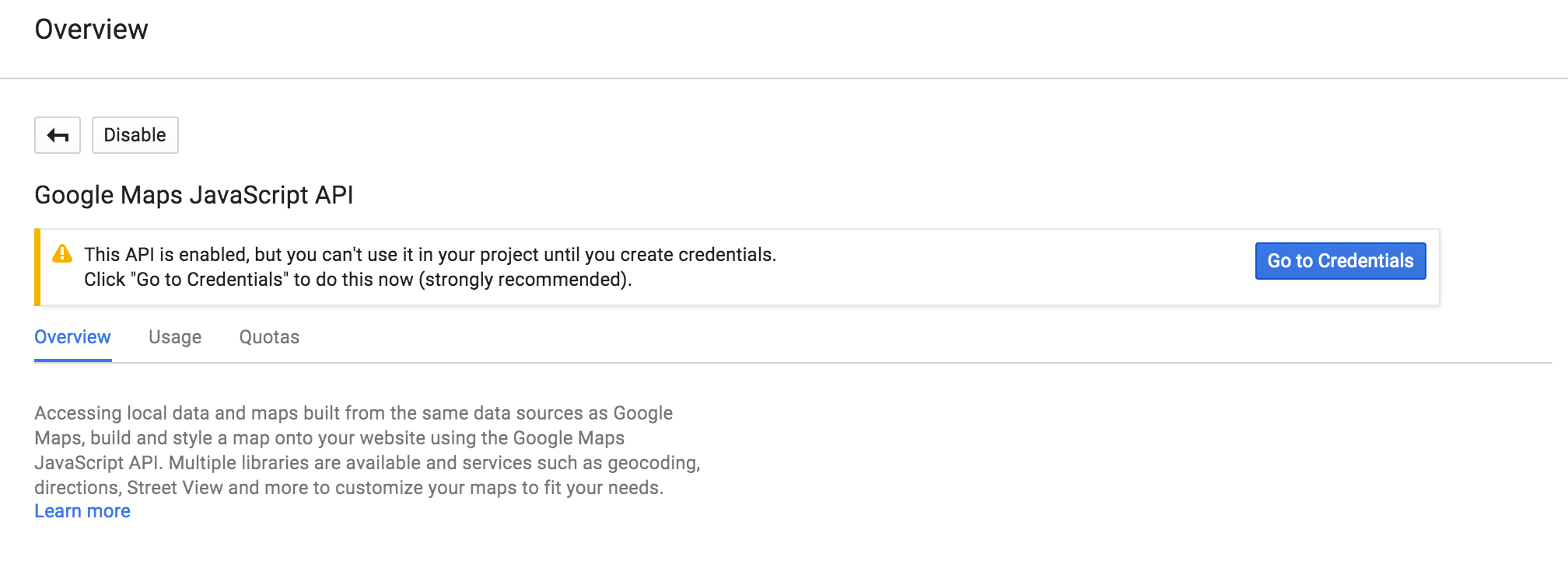 Create credentials to access your enabled APIs